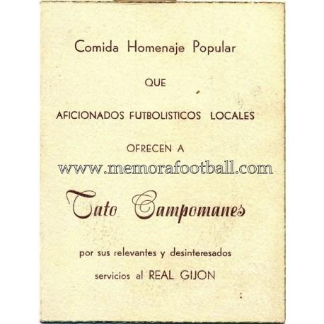 """""""TATO CAMPOMANES"""" 30-05-1954 Testimonial menu"""