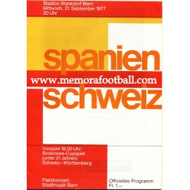 Switzerland v Spain 21-09-1977 Friendly Match Programme