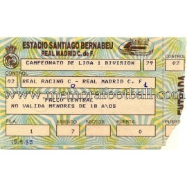 Real Madrid vs Real Racing Club Santander 15-09-1985