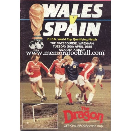 Wales v Spain 1986 FIFA World Cup Qualifying Match programme