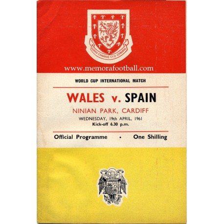 Wales v Spain 1962 FIFA World Cup Qualifying Match programme