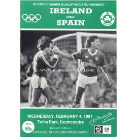 Ireland v Spain 1988 Olympic Games Qualifying Match programme