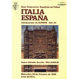 Spain v Italy 1986 UEFA European Under-21 Football Championship Final programme