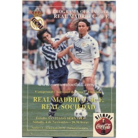 Real Madrid v Real Sociedad LFP 04/11/1995 Official programme