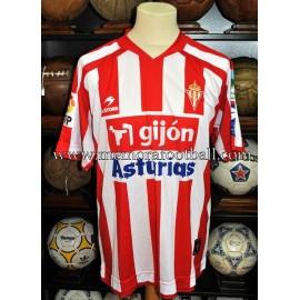 """""""DIEGO CAMACHO"""" 2008-2009 Sporting de Gijón v FC Barcelona match worn shirt"""
