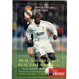Real Madrid v Real Valladolid LFP 18/05/1997 Official programme