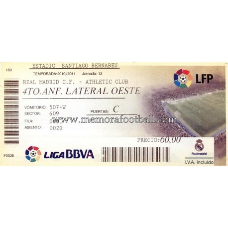 Athletic club bilbao gt real madrid vs athletic club lfp 2010 11 ticket
