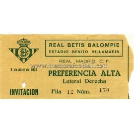 Real Betis v Real Madrid 02-04-1978