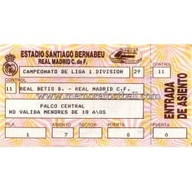 Real Madrid v Real Betis 11-01-1987