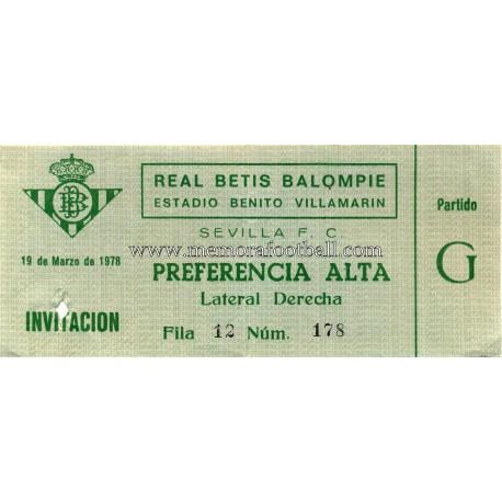 Real Betis v Sevilla FC 19-03-78