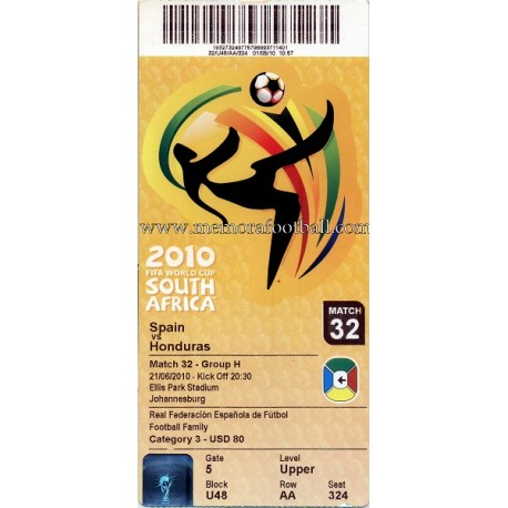 Spain vs Honduras - 2010 FIFA World Cup ticket