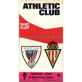 Athletic Club vs Sporting de Gijón 15-09-1974 programa oficial