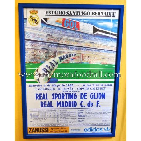 Cartel del partido real madrid vs sporting de gij n 04 05 1983 memora football - Estadio del sporting de gijon ...