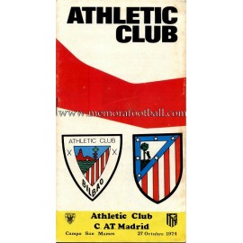 Athletic Club vs Atlético de Madrid 27-10-1974 official programme