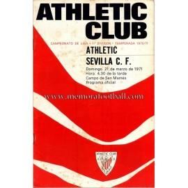 Programa del partido Athletic Club vs Sevilla CF 21-03-71