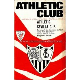 Programa del partido Athletic Club vs Sevilla CF 05-12-71