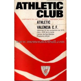 Athletic Club vs Valencia CF 22-11-1970 programa oficial