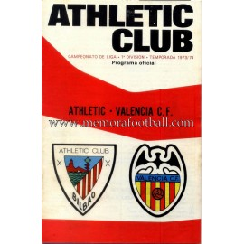 Athletic Club vs Valencia CF 1973-74 programa oficial