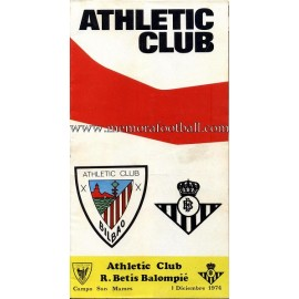 Programa del partido Athletic Club vs Real Betis 01-12-74