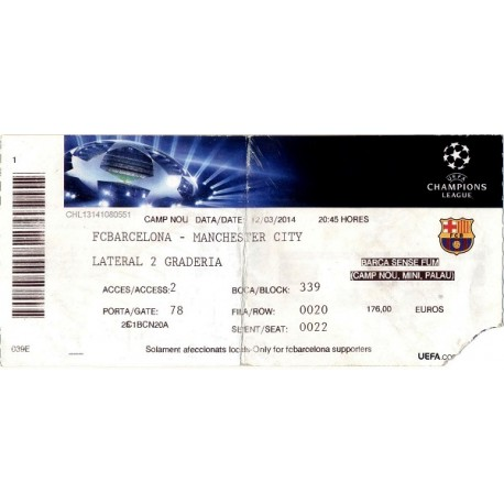 FC Barcelona vs Manchester City 12/03/14 Champions League