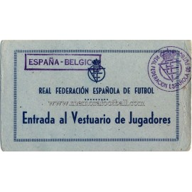 Spain vs Belgium 19-03-1953 changing room ticket