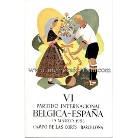 Entrada España vs Belgica 19-03-1953 partido amistoso