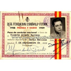 1958-59 Spanish FA press card