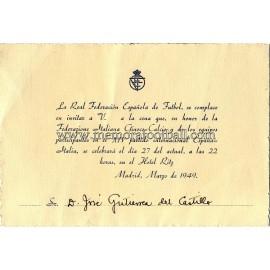 Menú de la Cena Oficial partido España v Italia 27-03-1949