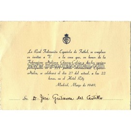 Spain vs Italy 27-03-1949 Official Dinner menu