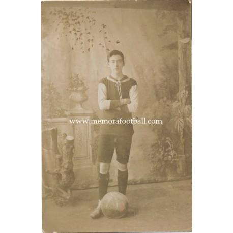 Young man in football strip, circa 1900, England post card