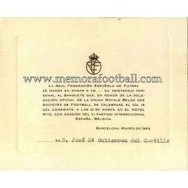 Invitación a la Cena Oficial partido España v Bélgica 19-03-1953