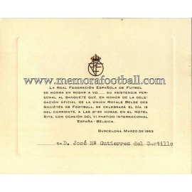 Spain vs Belgium 19-03-1953 Official Dinner invitation