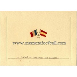 Spain vs France 17-03-1955 Official Dinner menu