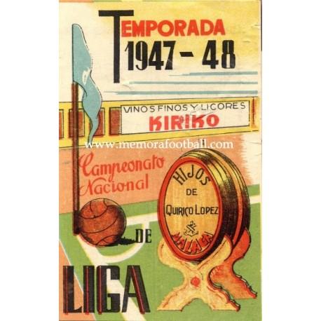 Spanish League 1ª Division 1947-1948, Football Calendar