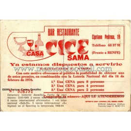 """Tarjeta """"QUINI"""" Sporting de Gijón 1972"""