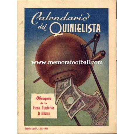 Spanish League 1ª Division 1959-1960 publicity football calendar