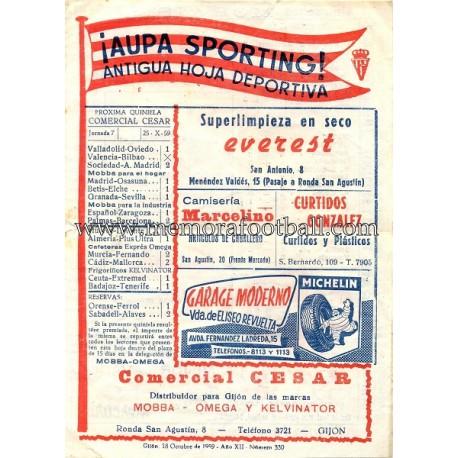 ¡AUPA SPORTING! Antigua Hoja Deportiva 18-10-1989