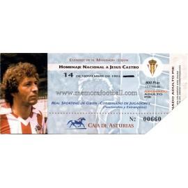 """""""JESÚS CASTRO"""" Testimonial Match ticket 14-11-1993"""