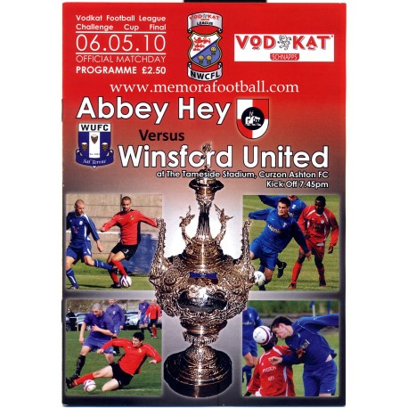 Abbey Hey v Winsford United 2010 Vodkat Football Challenge Cup Final programme