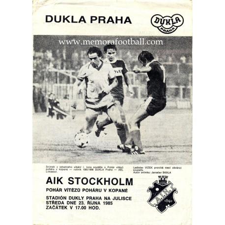 Dukla Praha - AIK Stockholm 23-10-1985 UEFA Cup Winners Cup programme