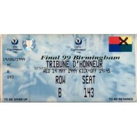 Entrada de la Final de la Recopa de Europa UEFA 1999