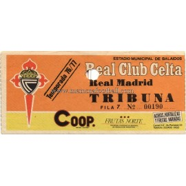Real Club Celta vs Real Madrid 07-11-76 ticket