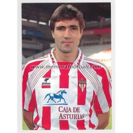 """JULIO SALINAS"" Sporting de Gijón 1990s card"