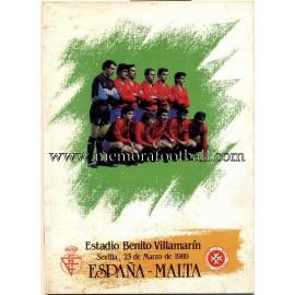 Spain vs Malta 23-03-1989 official programme