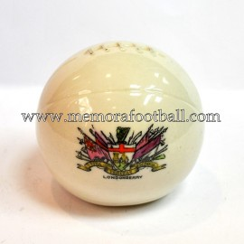 Crested china model of Football (LONDODERRY)