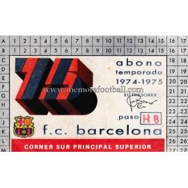Abono del FC Barcelona temporada 1974-1975