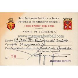 Tarjeta de Congresista de José María Gutierrez del Castillo, 1953