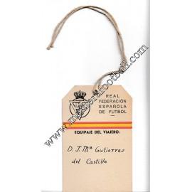Etiqueta de maleta R.F.E.F. Campeonato Mundial Fútbol 1950