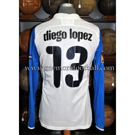"""""""DIEGO LÓPEZ"""" nº13 portero Villareal CF 2010-2011 UEFA Europa League, camiseta usada en partido"""