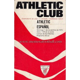 Athletic Club vs Español 01-11-1970 programa oficial